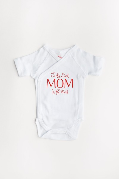 "Body maneca scurta petrecut Kara alb cu mesaj rosu ""To the best mom in the world"""
