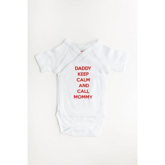 """Body maneca scurta petrecut Kara alb cu mesaj rosu """"daddy keep calm and call mommy"""""""