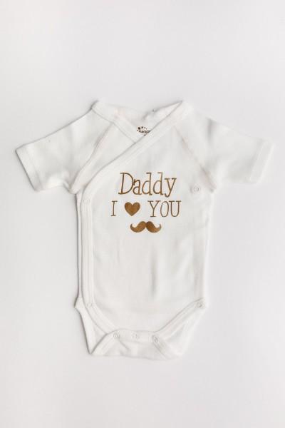 "Body maneca scurta petrecut Kara ivory cu mesaj ""Daddy I love you"""