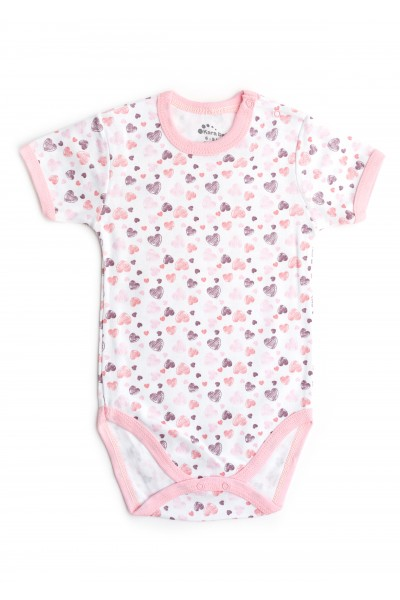Body maneca scurta Kara alb cu dungi roz si imprimeu inimioare