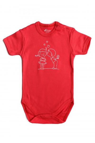 Body maneca scurta Kara rosu cu imprimeu fetita si baietel