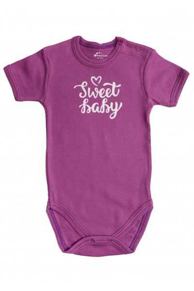 "Body maneca scurta Kara mov cu imprimeu ""sweet baby"""
