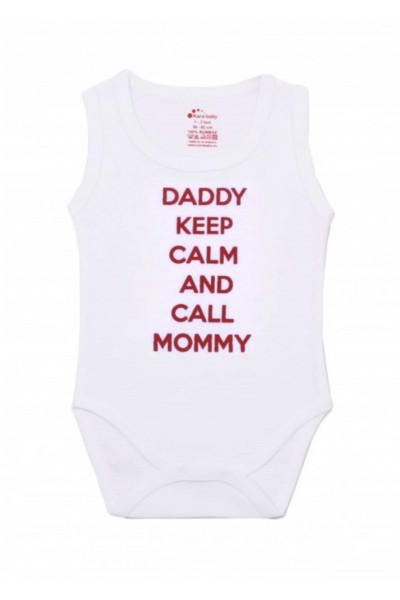 "Body maiou Kara alb mesaj rosu ""daddy keep calm and call mommy"""