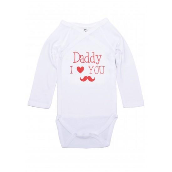 "Body maneca lunga petrecut Kara alb cu mesaj rosu ""Daddy I love you"""