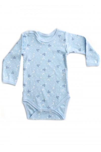 body maneca lunga rom baby bleu semiluna