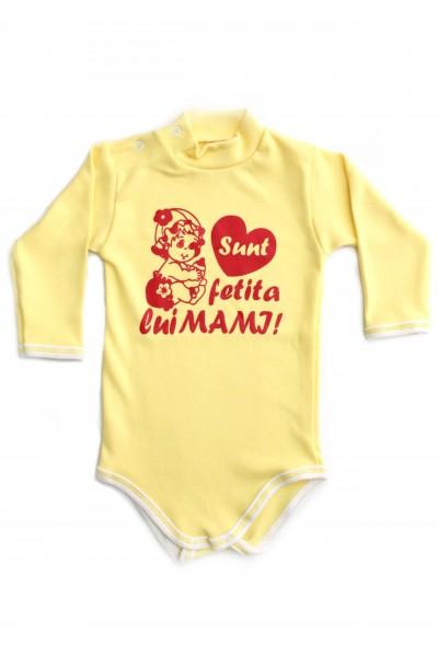 Body maneca lunga azuga galben mesaj rosu sunt fetita lui mami
