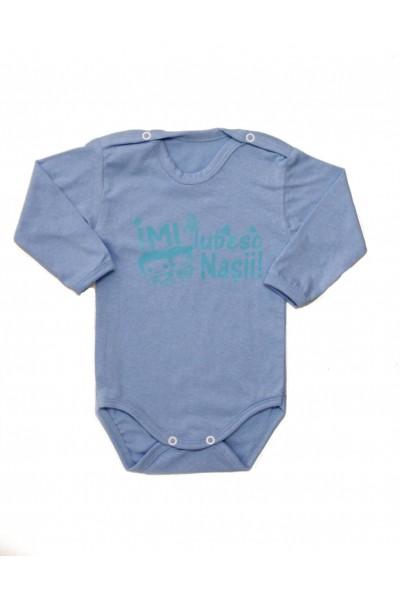 body bebe bumbac bleu mesaj imi iubesc nasii