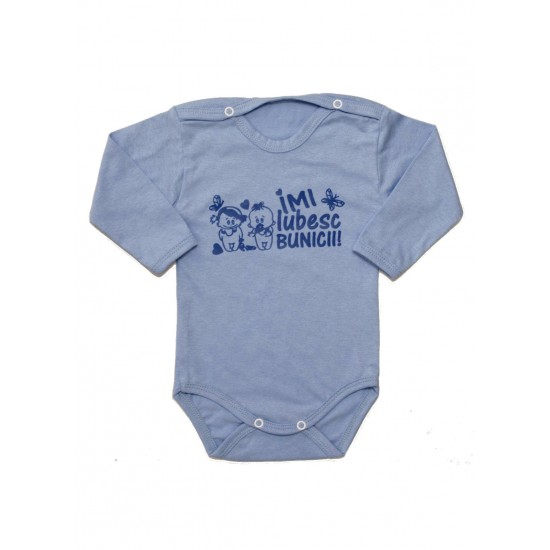 Body Bebe Bumbac Maneca Lunga Bleu Mesaj Albastru Imi Iubesc Bunicii