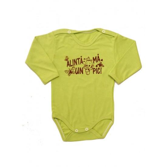body bebe bumbac maneca lunga vernil mesaj maro alinta-ma un pic
