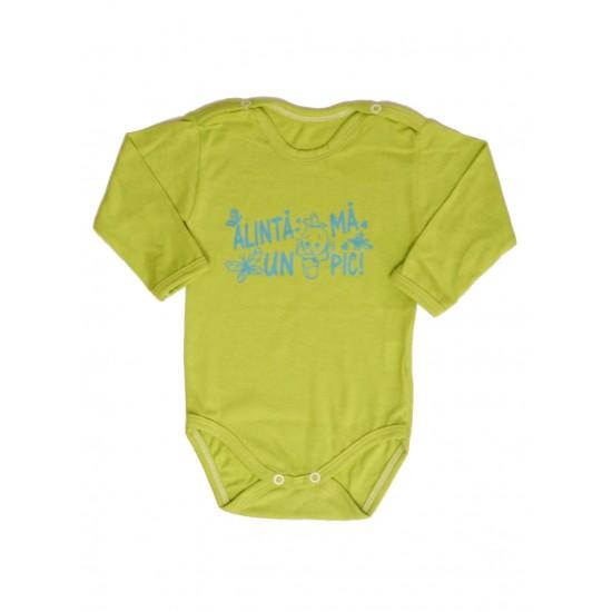 body bebe bumbac maneca lunga vernil mesaj albastru alinta-ma un pic