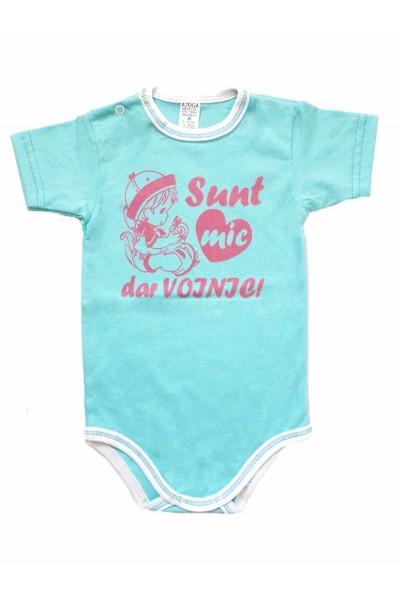 body bebe bumbac maneca scurta azuga bleu mesaj roz sunt mic dar voinic