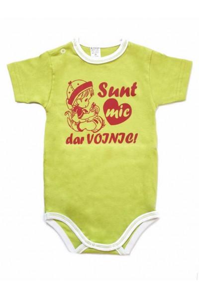 body bebe bumbac maneca scurta azuga vernil mesaj rosu sunt mic dar voinic