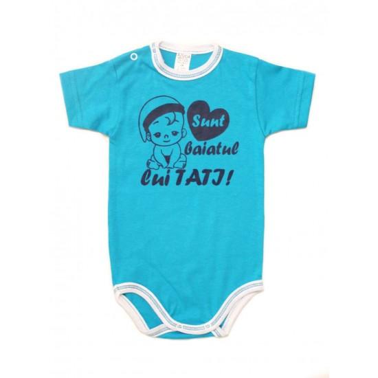 body bebe bumbac maneca scurta azuga turcoaz mesaj sunt baiatul lui tati