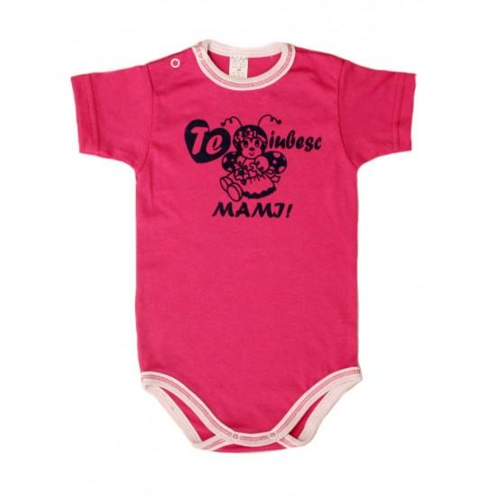 body bebe bumbac maneca scurta azuga roz mesaj te iubesc mami