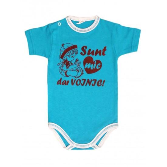 body bebe bumbac maneca scurta azuga turcoaz mesaj sunt mic dar voinic