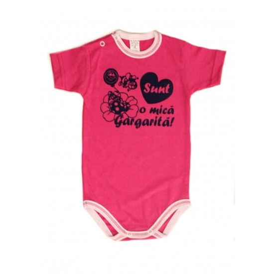 body bebe bumbac maneca scurta azuga roz mesaj sunt o mica gargarita
