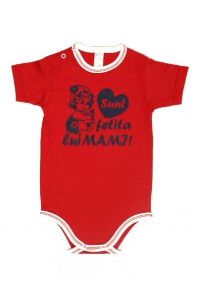 body bebe bumbac maneca scurta azuga rosu mesaj sunt fetita lui mami