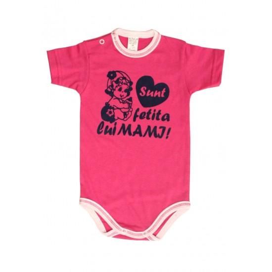 body bebe bumbac maneca scurta azuga roz mesaj sunt fetita lui mami