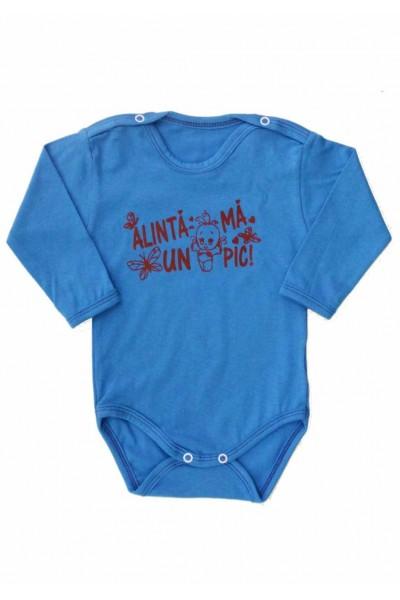 Body bebe bumbac albastru mesaj maro alinta-ma un pic