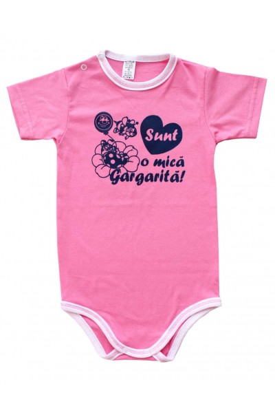 body bebe bumbac maneca scurta azuga roz mesaj albastru sunt o mica gargarita