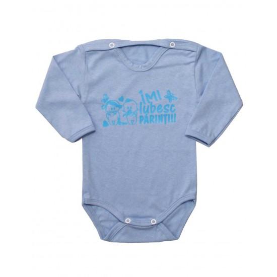 body bebe bumbac bleu mesaj imi iubesc parintii