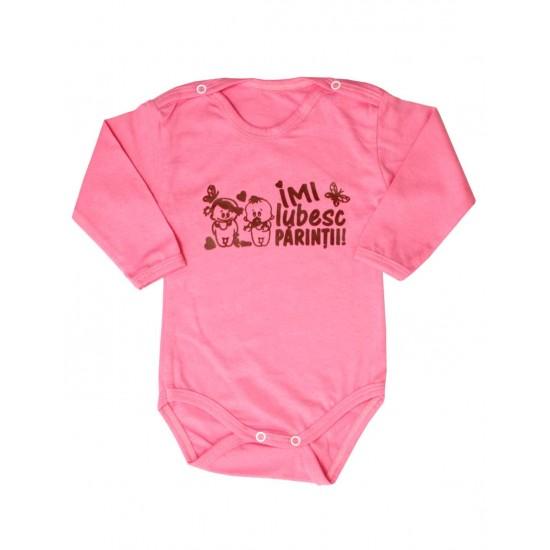 body bebe bumbac roz mesaj maro imi iubesc parintii
