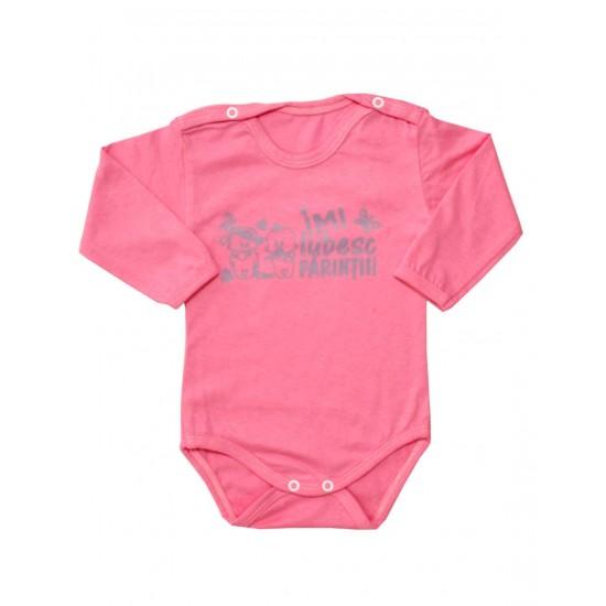 body bebe bumbac roz maneca lunga mesaj mov imi iubesc parintii