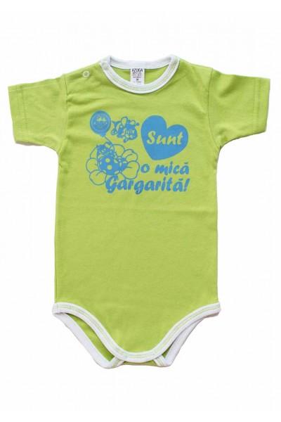 body bebe bumbac maneca scurta azuga vernil mesaj albastru sunt o mica gargarita