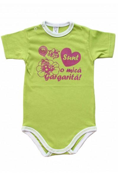 body bebe bumbac maneca scurta azuga vernil mesaj roz sunt o mica gargarita