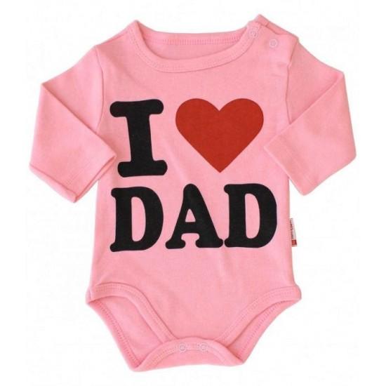 body bebe bumbac maneca lunga roz piersica i love dad