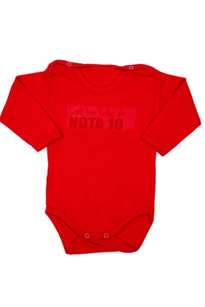 Body bebe bumbac maneca lunga rosu bebe de nota 10