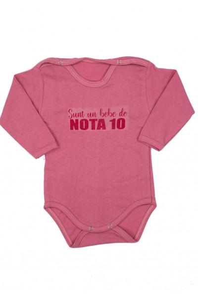 Body bebe bumbac maneca lunga marsala bebe de nota 10