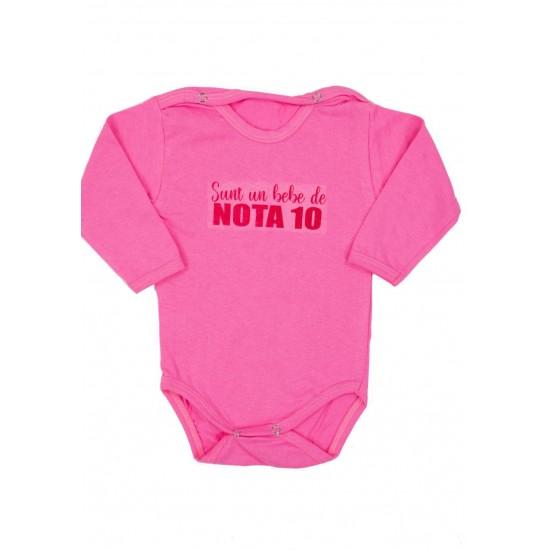 Body bebe bumbac maneca lunga roz bebe de nota 10