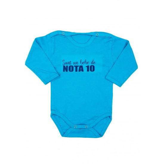 Body bebe bumbac maneca lunga turcoaz bebe de nota 10