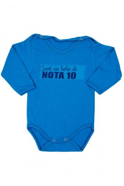 Body bebe bumbac maneca lunga albastru bebe de nota 10