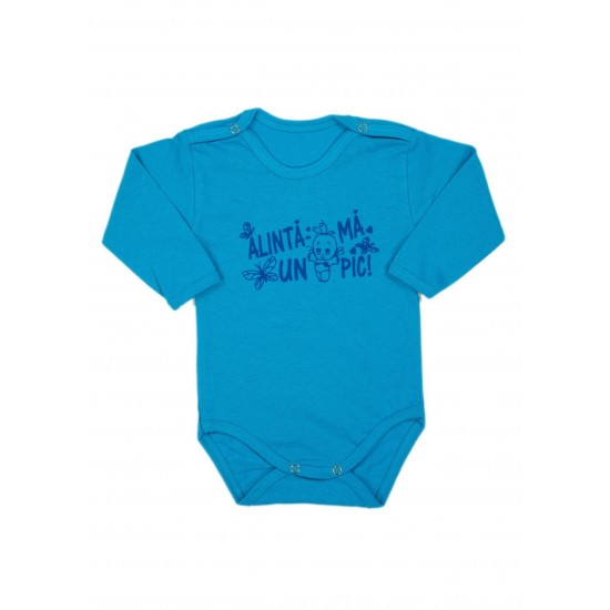 Body bebe bumbac maneca lunga turcoaz mesaj alinta-ma un pic