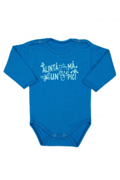 Body bebe bumbac maneca lunga albastru mesaj alinta-ma un pic