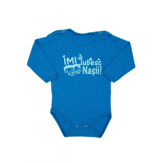 Body bebe bumbac maneca lunga albastru mesaj imi iubesc nasii