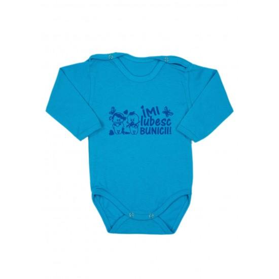 Body bebe bumbac maneca lunga turcoaz mesaj imi iubesc bunicii bleu