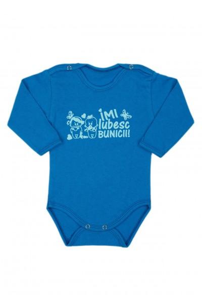 Body bebe bumbac maneca lunga albastru mesaj imi iubesc bunicii
