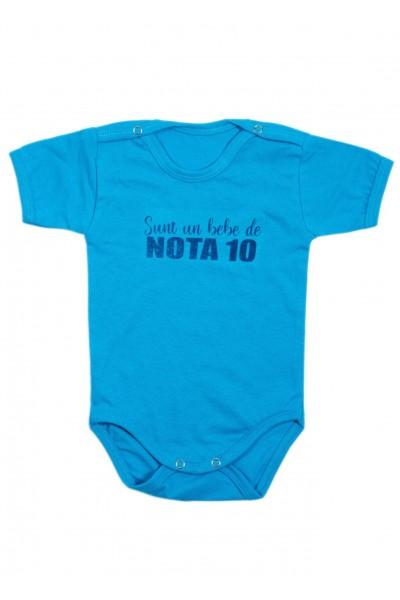 Body bebe bumbac maneca scurta turcoaz mesaj sunt un bebe de nota 10