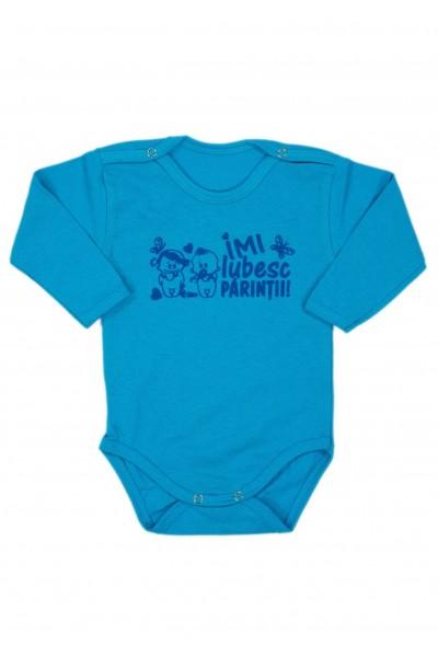 Body bebe bumbac maneca lunga albastru mesaj bleumarin imi iubesc parintii
