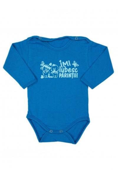 Body bebe bumbac maneca lunga albastru mesaj imi iubesc parintii