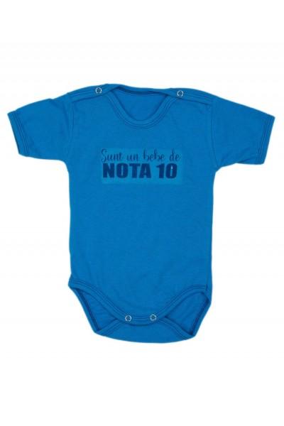 Body bebe bumbac maneca scurta albastru mesaj sunt un bebe de nota 10