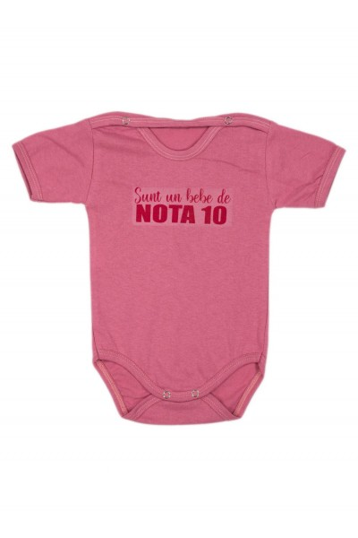 Body bebe bumbac maneca scurta lila mesaj sunt un bebe de nota 10