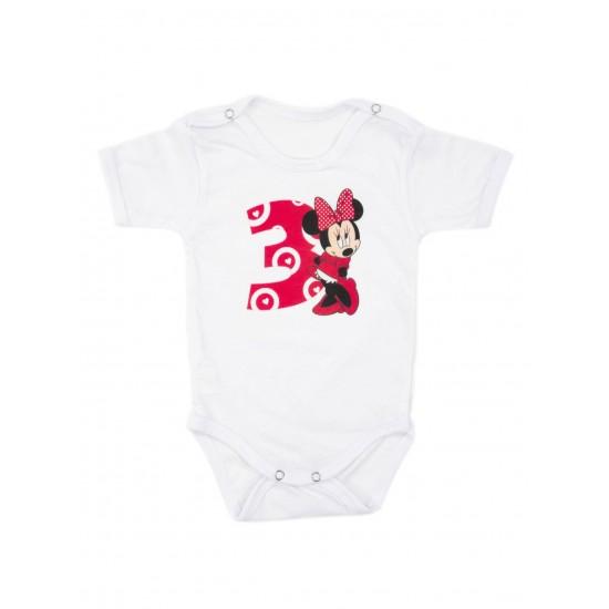 Body bebe bumbac mesaj aniversar 3 luni roz