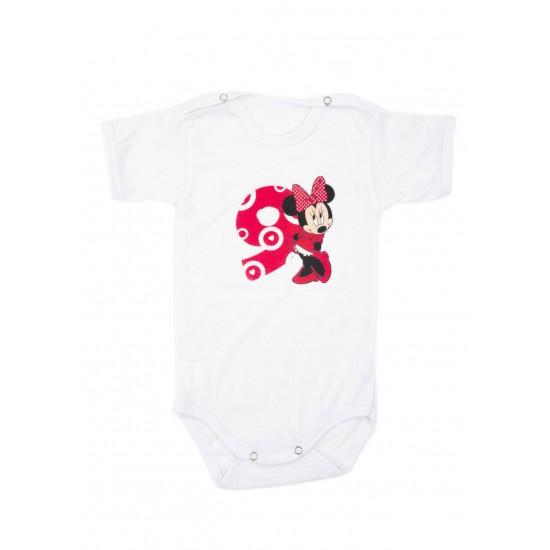Body bebe bumbac mesaj aniversar 9 luni roz
