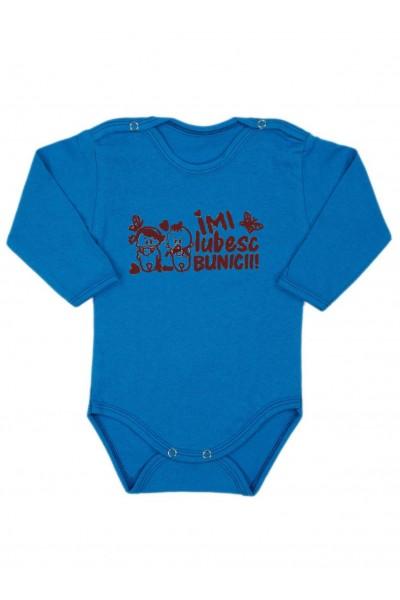 Body bebe bumbac maneca lunga albastru mesaj imi iubesc bunicii maro
