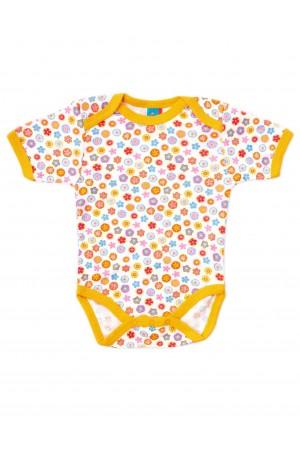 body bebe bumbac floricele margini portocalii