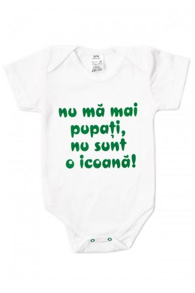 Body bebe bumbac maneca scurta alb mesaj verde nu ma mai pupati